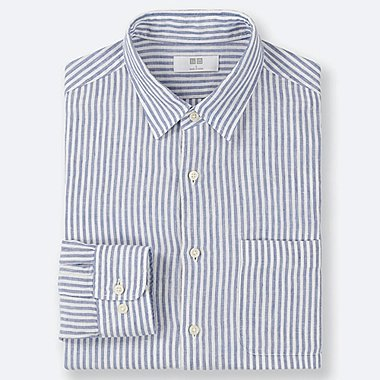 MEN PREMIUM LINEN STRIPED LONG-SLEEVE SHIRT, BLUE, medium