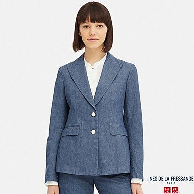 WOMEN CHAMBRAY COTTON BLAZER (INES DE LA FRESSANGE), BLUE, medium