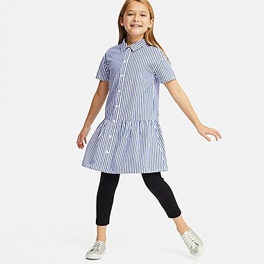 GIRLS STRIPED SHORT SLEEVED SHIRT DRESS