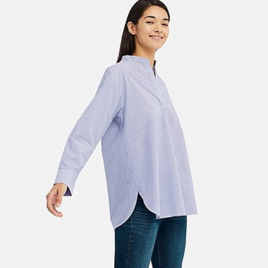 WOMEN EXTRA FINE COTTON STAND COLLAR LONG-SLEEVE SHIRT (STRIPE), BLUE, medium
