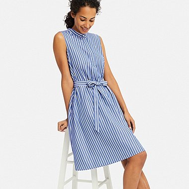 WOMEN EXTRA FINE COTTON A-LINE STRIPED SLEEVELESS DRESS, BLUE, medium