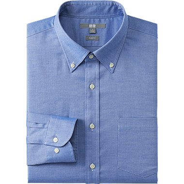 MEN EASY CARE SLIM FIT OXFORD LONG SLEEVE SHIRT, BLUE, medium