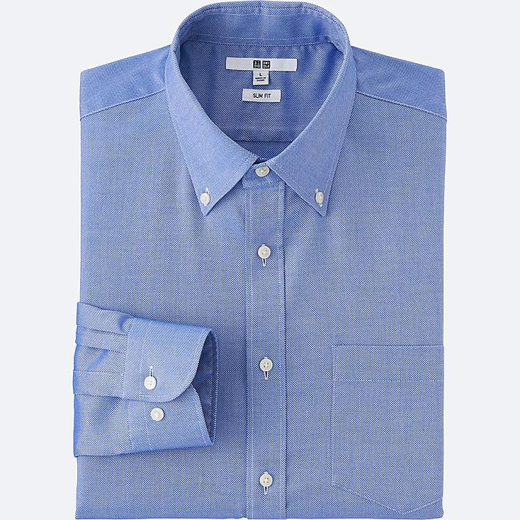 Men's Easy Care Oxford Slim-Fit Dress Shirt, BLUE, large