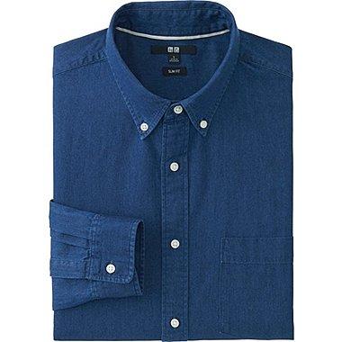 Mens Slim-Fit Denim Shirt, BLUE, medium