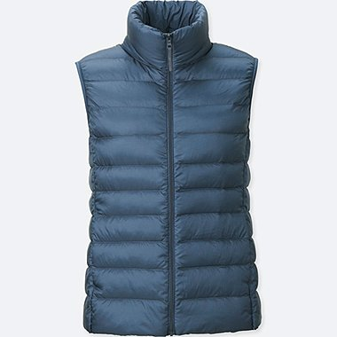Womens Ultra Light Down Vest, BLUE, medium