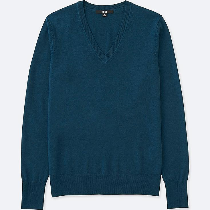Women's Extra Fine Merino Wool V-Neck Sweater, BLUE, large