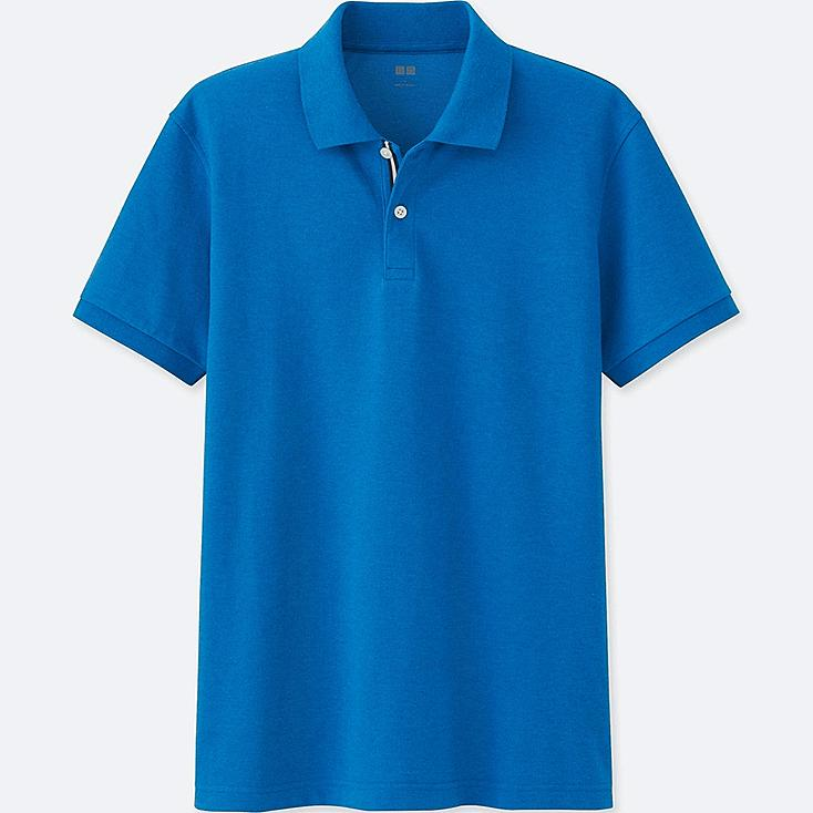 MEN'S DRY PIQUE COLOR PLACKET POLO SHIRT, BLUE, large
