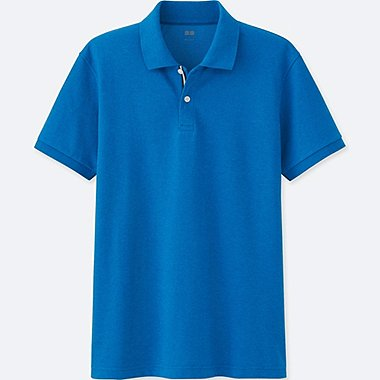 MENS DRY PIQUE COLOR PLACKET POLO SHIRT, BLUE, medium