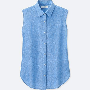 WOMEN PREMIUM LINEN SLEEVELESS SHIRT, BLUE, medium