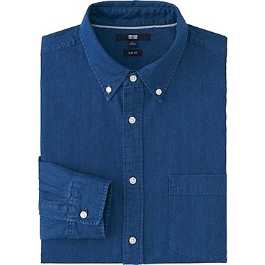 MEN DENIM SLIM FIT LONG SLEEVE SHIRT, BLUE, medium