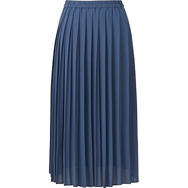 WOMEN HIGH WAIST CHIFFON PLEATED MIDI SKIRT, BLUE, medium