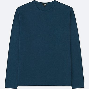 MEN MILANO RIBBED CREWNECK SWEATER, BLUE, medium