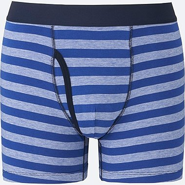 MEN Supima® COTTON STRIPED BOXER BRIEFS, BLUE, medium
