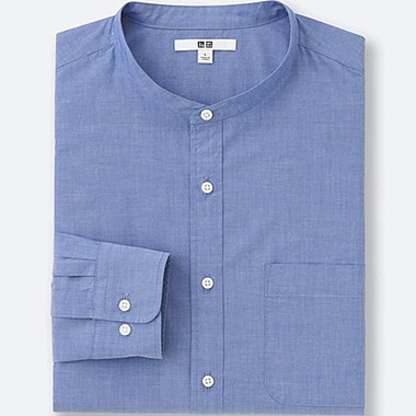 MEN EXTRA FINE COTTON BROADCLOTH STAND COLLAR LONG SLEEVE SHIRT, BLUE, medium