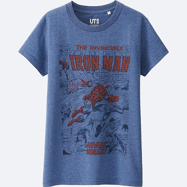 WOMEN MARVEL COLLECTION SHORT SLEEVE GRAPHIC T-SHIRT, BLUE, large