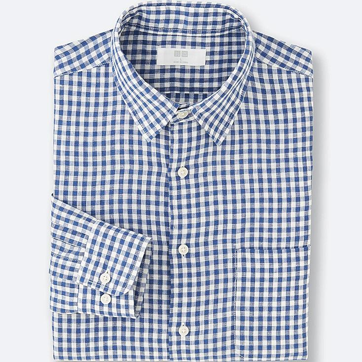 MEN Premium Linen Checked Long Sleeve Shirt
