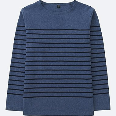 MEN Washed Striped Lone Sleeve T-Shirt