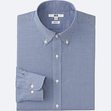 MEN EASY CARE SLIM-FIT CHECKED LONG SLEEVE SHIRT, BLUE, medium