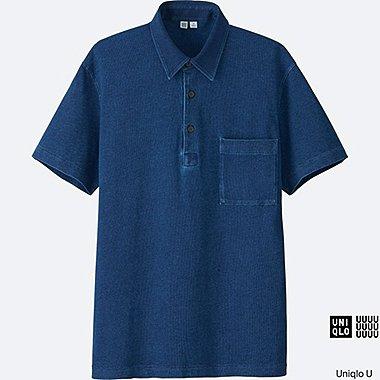 MEN Uniqlo U Oversized Indigo Short Sleeve Polo Shirt