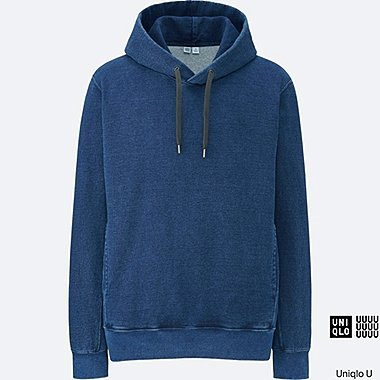 MEN Uniqlo U Long Sleeve Indigo Sweat Pullover Hoodie