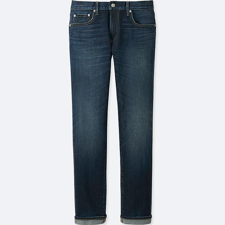 MEN STRETCH SELVEDGE SLIM-FIT JEANS, BLUE, large