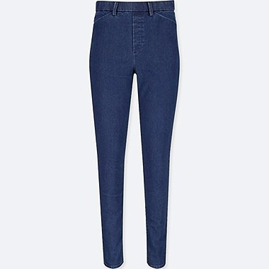 WOMEN HEATTECH HIGH RISE DENIM LEGGINGS TROUSERS