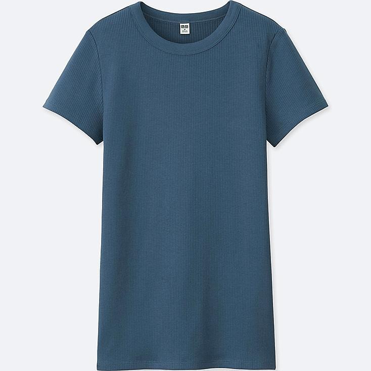 WOMEN SUPIMA COTTON RIBBED CREW NECK SHORT-SLEEVE T-SHIRT, BLUE, large