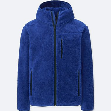 MEN BLOCKTECH PILE-LINED FLEECE FULL-ZIP HOODIE, BLUE, medium