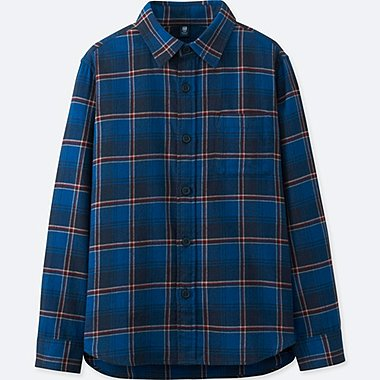 BOYS FLANNEL CHECK LONG-SLEEVE SHIRT, BLUE, medium