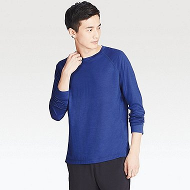 MEN WOOL BLENDED CREW NECK LONG SLEEVE T-SHIRT