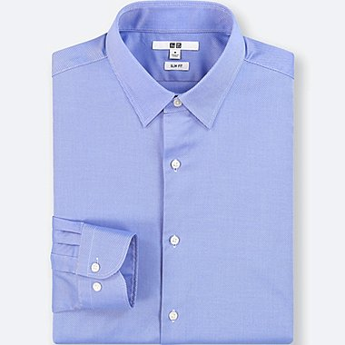 MEN EASY CARE DOBBY SLIM-FIT LONG-SLEEVE SHIRT, BLUE, medium