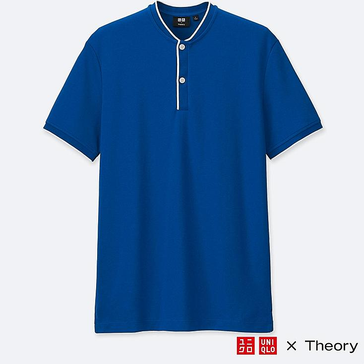 MEN DRY COMFORT STAND COLLAR POLO SHIRT (THEORY), BLUE, large