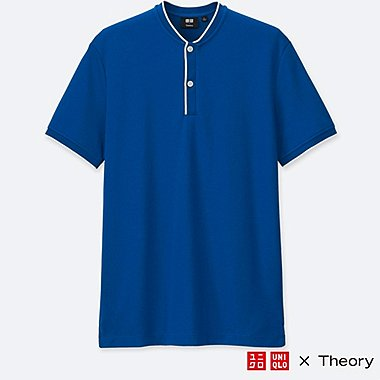 MEN DRY COMFORT STAND COLLAR POLO SHIRT (THEORY), BLUE, medium