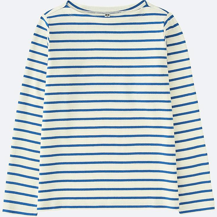 WOMEN STRIPED BOAT NECK LONG SLEEVE T-SHIRT, BLUE, large
