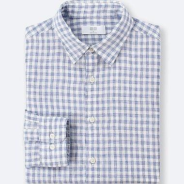 Herren 100% Premium Leinen Hemd (Kariert)