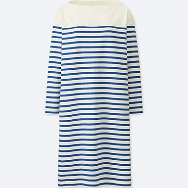 WOMEN COTTON STRIPED BOAT NECK LONG SLEEVE DRESS