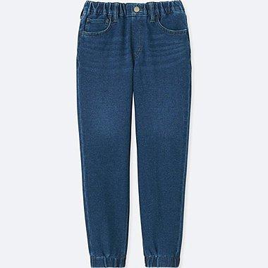 BOYS JERSEY DENIM JOGGER ANKLE PANTS, BLUE, medium