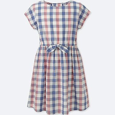 GIRLS CHECKED SHORT-SLEEVE DRESS, BLUE, medium