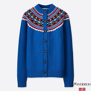 WOMEN JWA FAIR ISLE CREWNECK CARDIGAN, BLUE, medium