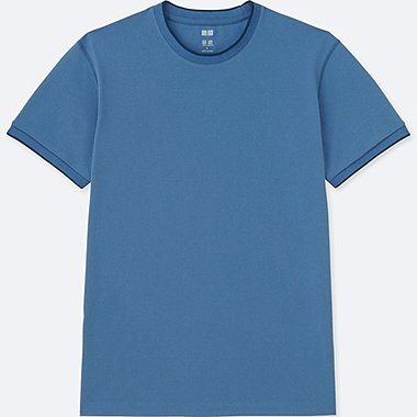 MEN DRY-EX CREWNECK SHORT-SLEEVE T-SHIRT, BLUE, medium
