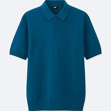MEN WASHABLE KNITTED SHORT-SLEEVE POLO SHIRT, BLUE, medium