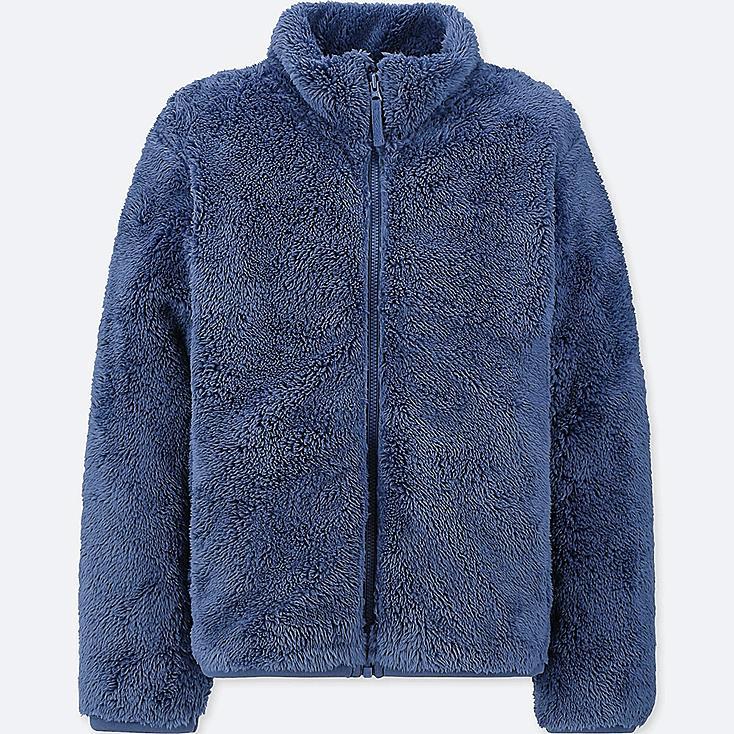 KIDS FLUFFY YARN FLEECE LONG-SLEEVE JACKET, BLUE, large