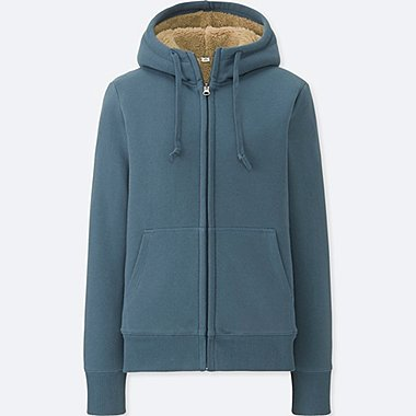 WOMEN PILE-LINED SWEAT LONG-SLEEVE FULL-ZIP HOODIE, BLUE, medium