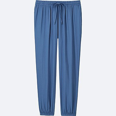 WOMEN DRAPE JOGGER PANTS, BLUE, medium