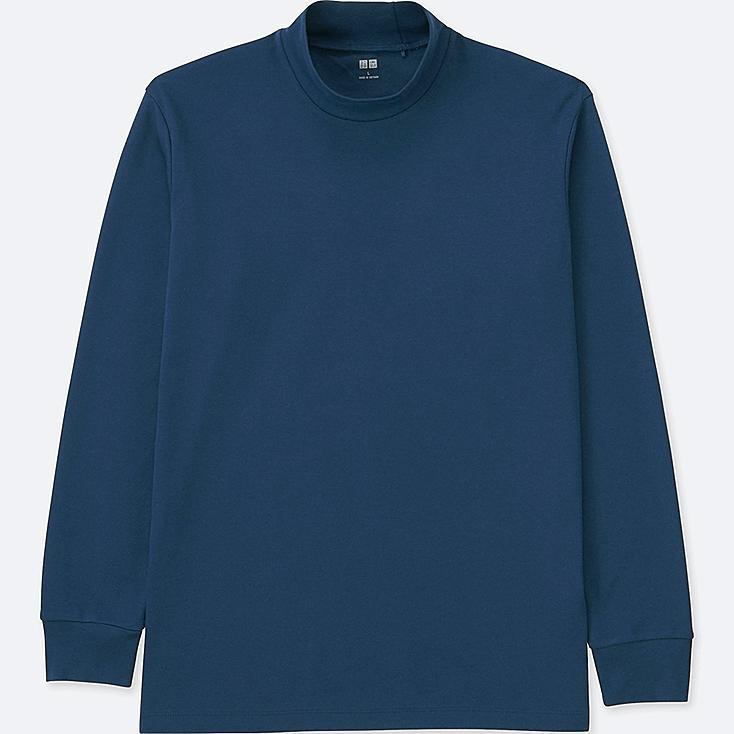 MEN SOFT TOUCH MOCK NECK LONG-SLEEVE T-SHIRT, BLUE, large