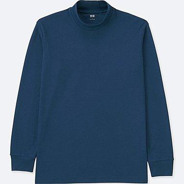 MEN SOFT TOUCH MOCK NECK LONG-SLEEVE T-SHIRT, BLUE, medium