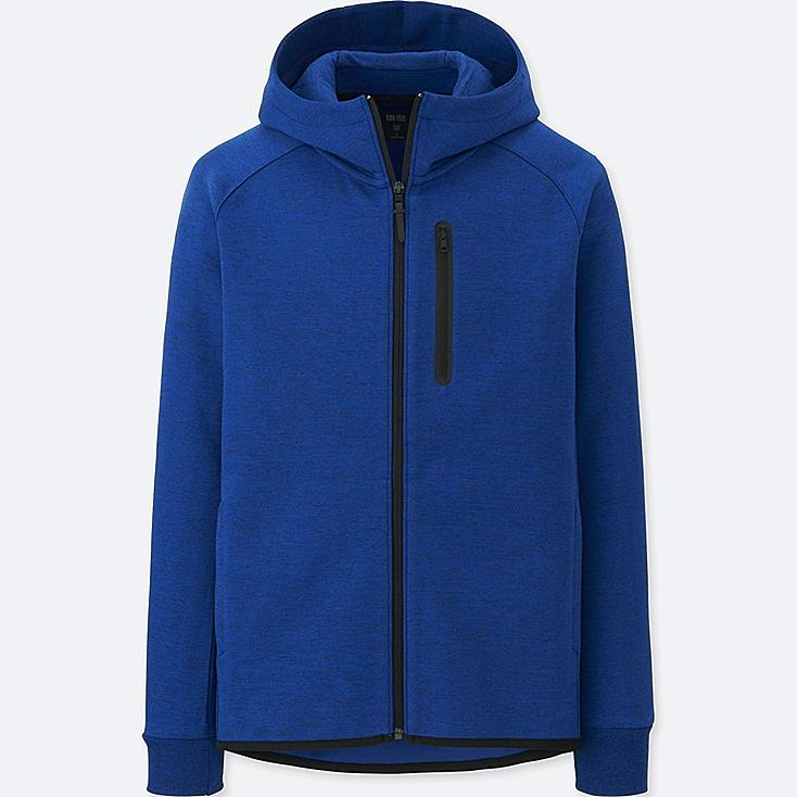 MEN DRY STRETCH SWEAT FULL-ZIP HOODIE, BLUE, large