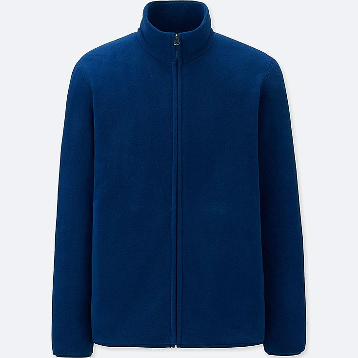 MEN FLEECE LONG-SLEEVE FULL-ZIP JACKET, BLUE, large