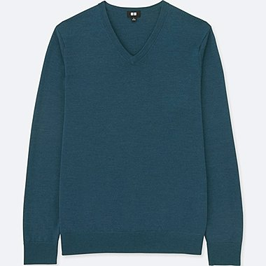 MEN EXTRA FINE MERINO V-NECK LONG-SLEEVE SWEATER, BLUE, medium
