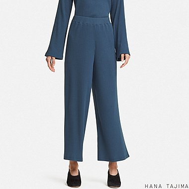 WOMEN RIBBED WIDE PANTS (HANA TAJIMA), BLUE, medium